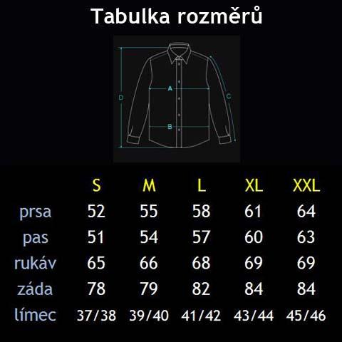 Tabulka rozměrů S - XXL