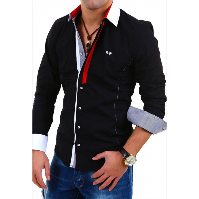4c9c306bde7 Košile pánská CARISMA dlouhý rukáv slim fit černá - EGO-MAN.CZ