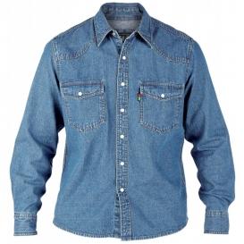 DUKE košile pánská KS1023 Western Style Denim Shirt riflová nadměrná velikost