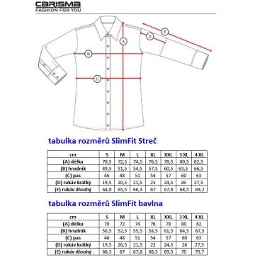 Košile pánská CARISMA dlouhý rukáv slim fit 8004 XXL,3XL,4XL
