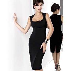 KARTES MODA šaty dámské KM13 černé elagantní společenské MIDI