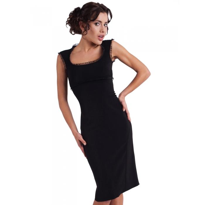 KARTES MODA šaty dámské KM13 černé elagantní společenské MIDI - EGO ... 234fd0d979