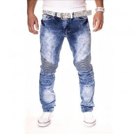 KC-1981 kalhoty pánské 3126 jeans džíny prošívané kolena
