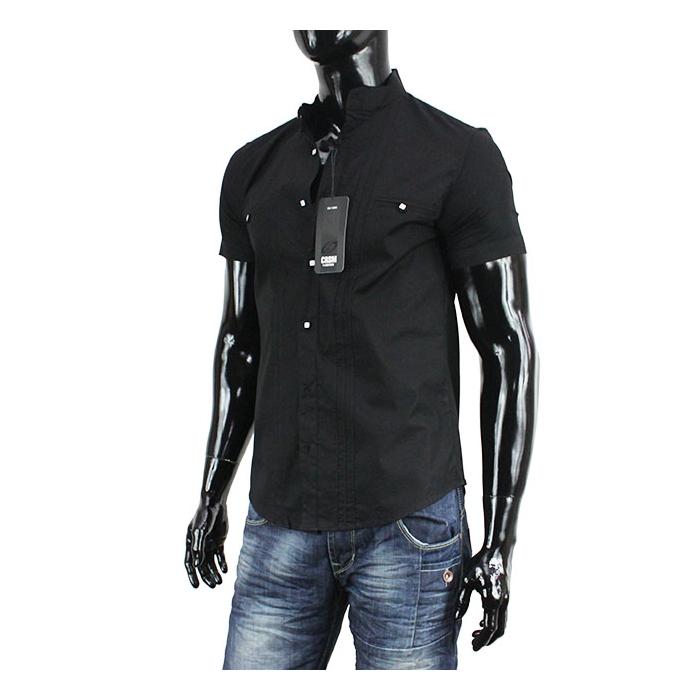 9d830ad29da CARISMA košile pánská 9023 krátký rukáv slim fit černá - EGO-MAN.CZ